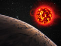 Planet and sun with a red giant Royalty Free Stock Photography