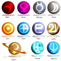 Planet Symbol 3D Set Royalty Free Stock Photography