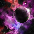 A Planet on a vivid nebula setting Royalty Free Stock Photo