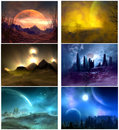 Planetary fantasy group of six images created in a d program Stock Image