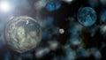 Planeten bedecken venus und pluto mit erde Stockfoto