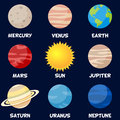 Planets of the solar system with sun collection eight on dark blue background part one three eps file available Stock Images