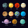 Planets of solar system vector cartoon set on dark sky space background Royalty Free Stock Photo
