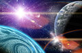 Planets in space end stars with galaxes Royalty Free Stock Image