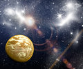 Planets in space end stars with galaxes Royalty Free Stock Photo