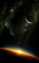 Planets in space with nebula Royalty Free Stock Photo