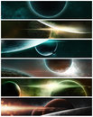 Planets on a starry background banner of fantasy scene Stock Images