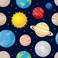 Planets and stars seamless pattern a cartoon with the eight of the solar system the sun the moon on dark blue background with Stock Images