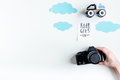 Planing trip with child with photo camera white background top view space for text
