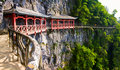 Plank road along high cliff, Mount Tianmen, China Royalty Free Stock Image