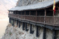 Plank road built along the face ancient of a cliff in sichuan china Stock Photo