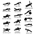 Plank training variations exercise clipart a set of human pictogram showing variation poses they are elbow bent knee side leg Stock Images