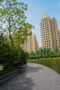 Planked footway by lakeshore in sunny spring a plank paved along the on day chengdu china Stock Photo