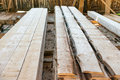 Planks in the timber factory Royalty Free Stock Photo