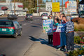 Planned parenthood eugene oregon or october anti abortion protesters target pedestrian and vehicle passersby in front of of Royalty Free Stock Image