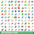 100 planning icons set, isometric 3d style