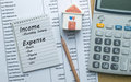Planning monthly income and account expenses Royalty Free Stock Photo