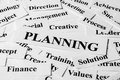 Planning and other related words concept with some paper Royalty Free Stock Photo