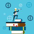 Planning work. Businessman lurking from a distance and standing on a book. Concept business illustration.