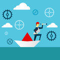 Planning work. Businessman lurking from a distance and standing on paper boat. Concept business illustration.