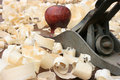 Plano dos carpinteiros e aparas de madeira Imagem de Stock
