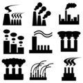 Plant and factory icons Royalty Free Stock Image