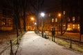 Plant główny krakow miasta park nocą w zimie Zdjęcia Stock