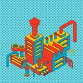 Plant industrial Isometric. Factory isolated pop art style. Vector illustration