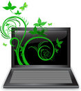 Plant from the laptop Royalty Free Stock Images