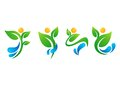 plant,people,water,spring,natural,logo,health,sun,leaf,botany,ecology,symbol icon set design vector