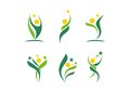 Plant,people,wellness,celebration,natural,star,logo,health,sun,leaf,botany,ecology,symbol icon set design vector Royalty Free Stock Photo