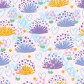 Plant shell know shy mushroom seamless pattern Royalty Free Stock Photo