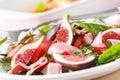 Plantaardige salade met verse fig. Royalty-vrije Stock Foto's