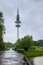 Planten un blomen park and heinrich hertz turm telecommunication tower in hamburg germany Stock Photography
