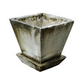 Planter old made from cement on white background Royalty Free Stock Photos