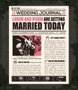 Plantilla del diseño de la invitación de la boda del periódico Fotografía de archivo