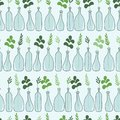 Colorful seamless pattern, branches in bottles. Decorative background with plants