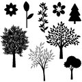 Plants set trees and flowers collection Stock Image