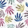 Plants spotty leaves hand drawn seamless pattern