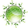 Plants surrounding Green Globe Stock Photo
