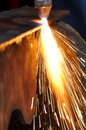 Plasma cutter sparks from a Stock Images