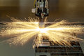Plasma cutting metalwork industry machine with sparks Stock Images