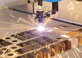 Plasma cutting metalwork industry machine with sparks Royalty Free Stock Photos