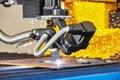 Plasma or Laser cutting technology Royalty Free Stock Photo