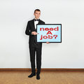 Plasma with need a job businessman in room holding Stock Photos