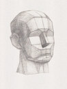 Plaster head it is a pencil drawing Royalty Free Stock Images