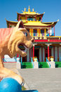 Plaster tiger in front of buddhist temple Royalty Free Stock Photo