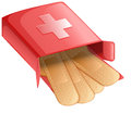 Plasters in a red box illustration of the on white background Royalty Free Stock Images