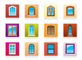 Plastic aluminum wooden windows Royalty Free Stock Photo