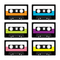 Plastic audio tape cassette. Retro music icon set. Recording element. 80s 90s years. Different colors template. Flat design. White